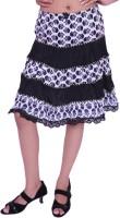Jevaraz Printed Women Regular White, Black Skirt