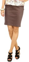 Cottinfab Solid Women's Straight Brown Skirt