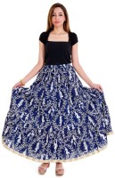 Halowishes Printed Women's Wrap Around Blue Skirt