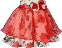 Cutecumber Floral Print Girls A-line Red Skirt