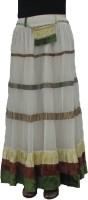Yaya Solid Women's A-line White Skirt