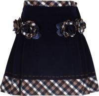 Cutecumber Checkered Girls A-line Blue Skirt