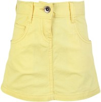 Dreamszone Solid Girls Regular Yellow Skirt