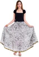 Halowishes Printed Women's Wrap Around White, Black Skirt