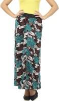 Cottinfab Floral Print Women's Straight Green, Multicolor Skirt
