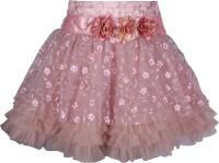 Cutecumber Embellished Girls A-line Pink Skirt