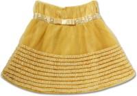 Cutecumber Solid Girls A-line Yellow Skirt