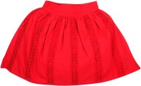 Apricot Kids Solid Girls Regular Red Skirt