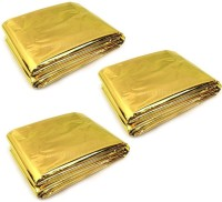Enem Emergency Mylar Thermal Blankets Heavy Duty 160X210cm for Safety & Survival-Camping, Outdoor Sports, Hiking , Travel- Pack of 03 Sleeping Bag(Gold)