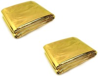 Enem Emergency Mylar Thermal Blankets Heavy Duty 160X210cm for Safety & Survival-Camping, Outdoor Sports, Hiking , Travel- Pack of 02 Sleeping Bag(Gold)