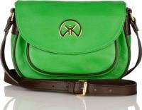 Khiora Women Formal Green, Brown Genuine Leather Sling Bag