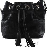 La Roma Women Black Genuine Leather Sling Bag