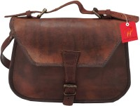 Pranjals House Women Brown Genuine Leather Messenger Bag