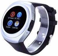 Voltegic ® GSM Mobile Phone TF Card Slot MP3 Player Men Women Pedometer Sleep Monitor Wearable Device Silver Smartwatch(Black Strap Regular)