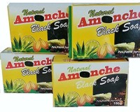 Awannawear Natural Amonche Black Soap with Shea Butter Bar (Pack of 4)(150 g)