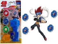 Little Grin D System Beyblade Set with Handle Launcher Metal Fighters(Multicolor)