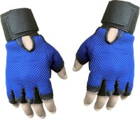 Sports 101 Netted Gym & Fitness Gloves (Free Size, Blue, Black)