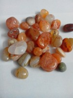 RM Red polished asymmetric natural pebbles for decoration Polished Asymmetrical Marble Stone(Red 200 g)