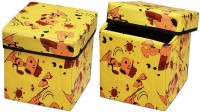 View The Intellect Bazaar Foldable Eye-Catching Pattern Storage Stool(Orange) Furniture