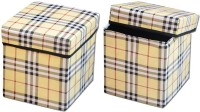 View The Intellect Bazaar Foldable Eye-Catching Pattern Storage Stool(Brown) Furniture