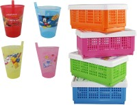 CSM Combo Of 8 Kids Straw Sipper & Small Foldable Boxes Storage Basket(Pack of 8)