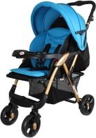 abdc kids Baby Pram Stroller Adjustable Handlebar Golden frame Dual Brakes Pram(Multi, Blue)