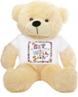 Grab A Deal Big Teddy Bear wearing a Get Well Soon T-shirt  - 24 inch(Beige, Orange)