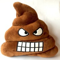 Grab A Deal Soft Smiley Emoticon Dark Brown Cushion Pillow Stuffed Plush Toy Doll (Angry Poo)  - 12 inch(Brown)