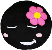 Grab A Deal Soft Smiley Emoticon Black Round Cushion Pillow Stuffed Plush Toy Doll (Shy Girl)  - 12 inch(Black)