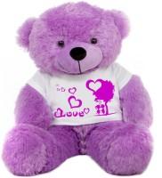 Grab A Deal Big Teddy Bear wearing a Romantic Love Couple T-shirt  - 24 Inch(Purple)