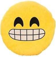 Grab A Deal Close Up Smiley Plush Cushion with a Big Smile  - 12 inch(Yellow)