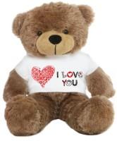 Grab A Deal Big Teddy Bear wearing a Beautiful I Love You T-shirt  - 24 inch(Brown)