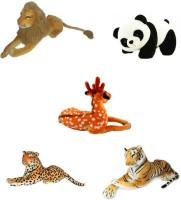 Meera's Combo Of Panda, Lion, Tiger, Deer, Cheetah Stuffed Soft Plush Toy  - 12 inch(Multicolor)