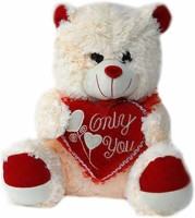 Grab A Deal Teddy Bear with Only You Heart  - 15 Inch(White, Cream)