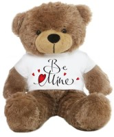 Grab A Deal Big Teddy Bear wearing Be Mine T-shirt  - 24 Inch(Brown)