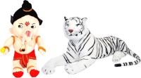 Alexus White Tiger And Bal Ganesh  - 32 cm(Multicolor)