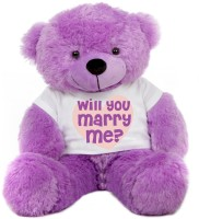 Grab A Deal Big Teddy Bear wearing a Will You Marry Me T-shirt  - 24 Inch(Purple)