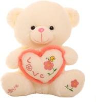 Grab A Deal Sitting Love Paw Teddy Bear holding a Love Heart  - 18 inch(Beige, Orange)