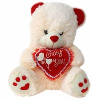 Grab A Deal Paw Teddy Bear With Only You Heart  - 18 Inch(White, Cream)