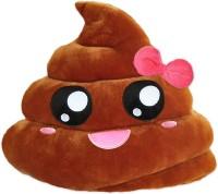 Grab A Deal Soft Smiley Emoticon Dark Brown Cushion Pillow Stuffed Plush Toy Doll (Pretty Poo)  - 12 inch(Brown)