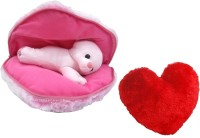 Saugat Traders Big Heart Teddy With Small Heart  - 9.84 Inch(Red, Pink)