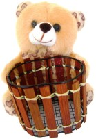 Saugat Traders Teddy Bear Pen Stand  - 6.3 inch(Brown)
