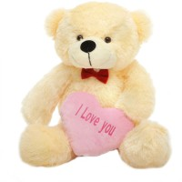 Grab A Deal 2 Feet Big Teddy Bear with Pink I Love You Heart  - 24 Inch(Beige, Peach)