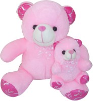 Saugat Traders Mother Child Teddy  - 33 cm(Pink, White)