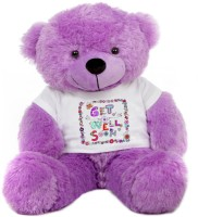 Grab A Deal Big Teddy Bear wearing a Get Well Soon T-shirt  - 24 inch(Purple)