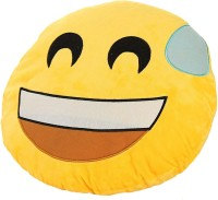 Grab A Deal Soft Smiley Emoticon Yellow Round Cushion Pillow Stuffed Plush Toy Doll (Nervous)  - 12 inch(Yellow)