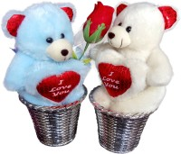 Luxury Gifts By Nikki Valentine's Adorable Close Couple Teddy Bears  - 6 inch(Blue, White)