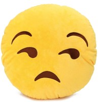 Grab A Deal Lonely Smiley Cushion looking with Side Eyes  - 12 inch(Yellow)