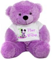 Grab A Deal Big Teddy Bear wearing a First Birthday T-shirt  - 24 inch(Purple)