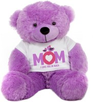 Grab A Deal Big Teddy Bear wearing a Mom I Love You So Much T-shirt  - 24 Inch(Purple)